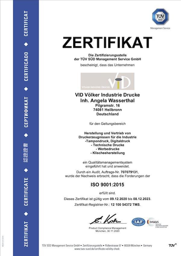 Bild der TÜV Süd Zertifizierung